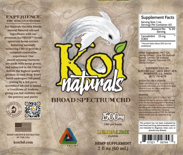 Koi Naturals Lemon Lime Broad Spectrum CBD Oil Tincture 60mL