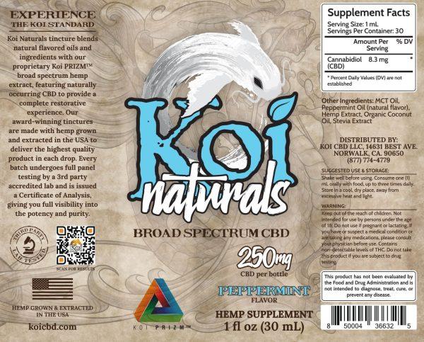 Koi Naturals Peppermint Broad Spectrum Hemp Extract CBD Oil Tincture 30mL