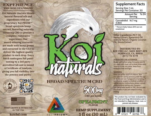Koi Naturals Spearmint Broad Spectrum Hemp Extract CBD Oil Tincture 30mL
