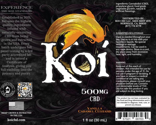 Koi Vanilla Caramel Custard Hemp Extract CBD Vape Liquid 30mL