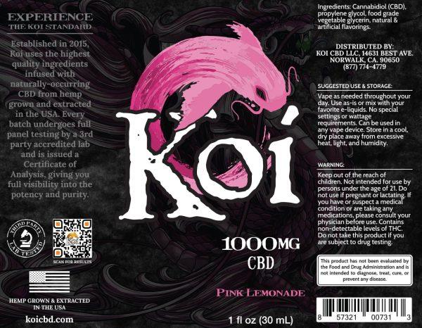 Koi Pink Lemonade Hemp Extract CBD Vape Liquid 30mL