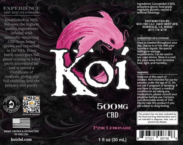Koi Pink Lemonade Hemp Extract CBD Vape Liquid 30mL