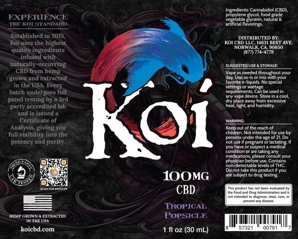 Koi Tropical Popsicle Hemp Extract CBD Vape Liquid 30mL