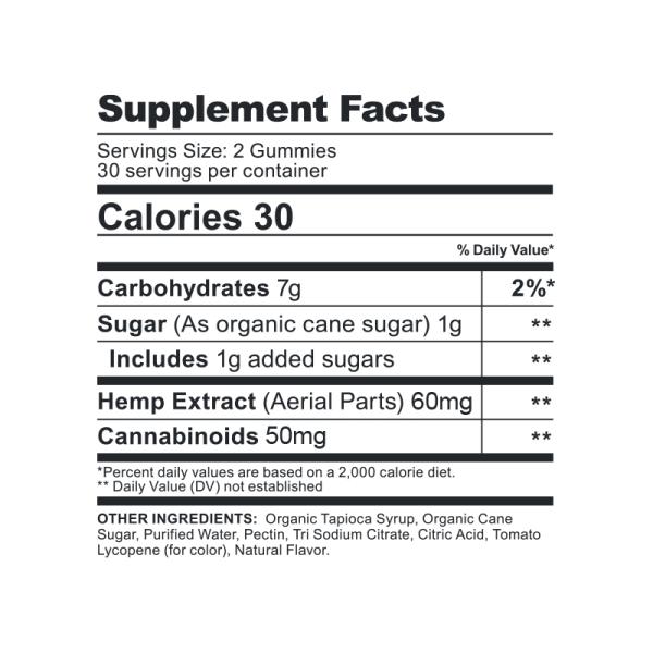 CBDFX Gummies Original Mixed Berries 1500MG Supplement Facts