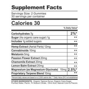Melatonin Gummies Supplement Facts