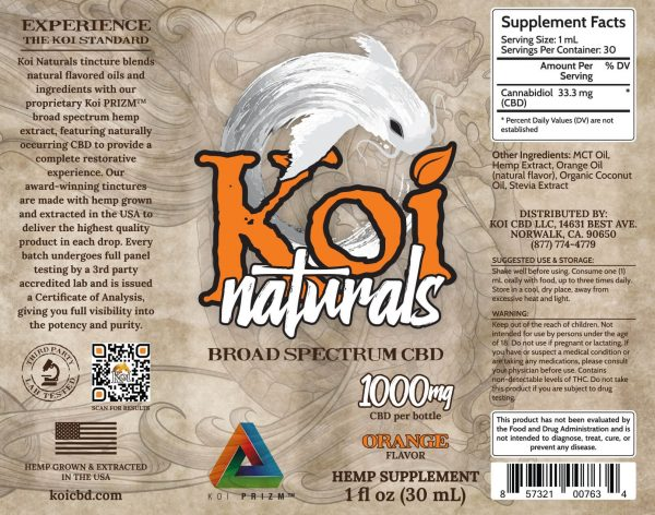 Koi Naturals Orange Broad Spectrum CBD Oil Tincture 60mL