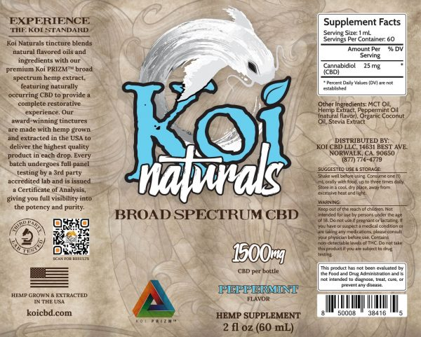 Koi Naturals Peppermint Broad Spectrum CBD Oil Tincture 60mL