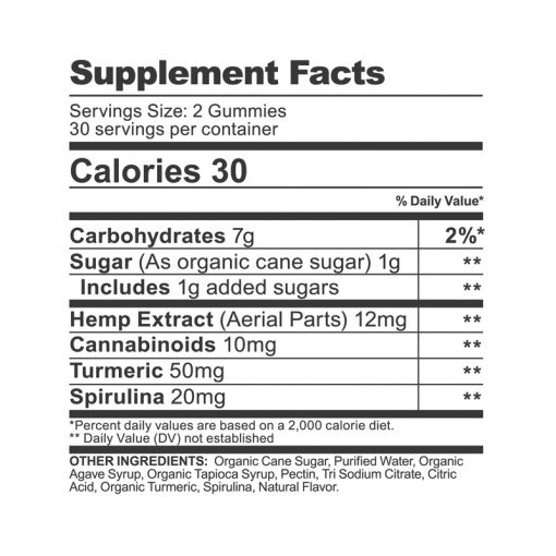 cbdfx turmeric spirulina gummies supplement facts
