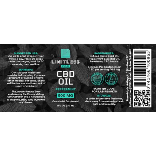 Limitless Peppermint CBD Isolate Oil Wellness Drops Tincture 1oz