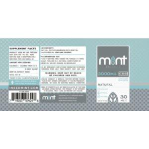 Mint Cbd Natural Tincture Drops Ingredient 3000MG
