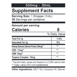 CBDFX Calming-tincture-500mg-supp-facts