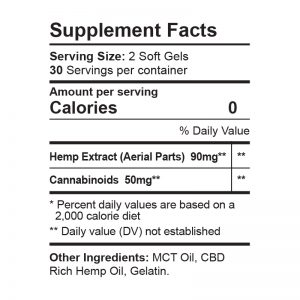 CBDFX Soft Gel Capsules 1500MG Supp Facts